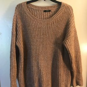 Sweaters - Beige oversized knitted sweater
